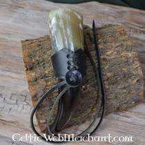 Uchwyt skórzany z podwójną pętlą na miecze LARP, zielono-brązowe