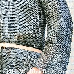 Hauberk with long sleeves, flat rings-round rivets, 8 mm