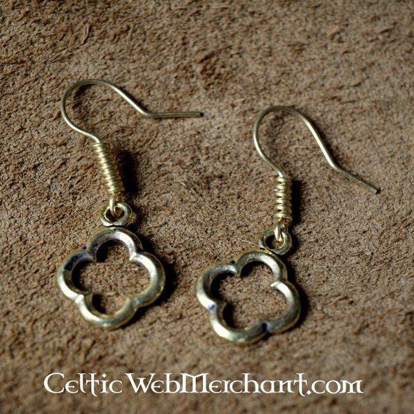 Gotisk quatrefoil øreringe bronze