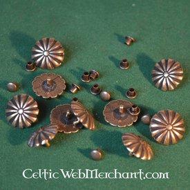Middeleeuws riembeslag met rozet (set van 5 stuks)
