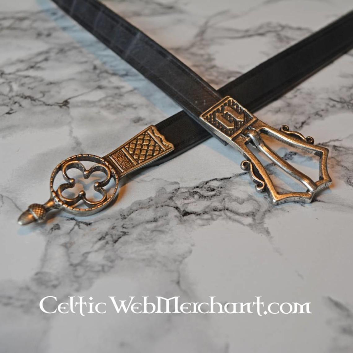 Gotische riem met riemeinde, zwart