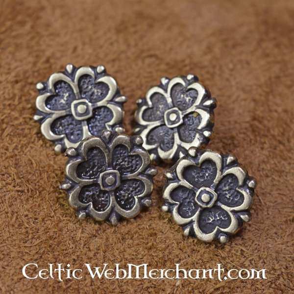 15th century rose belt fittings (5 pieces)