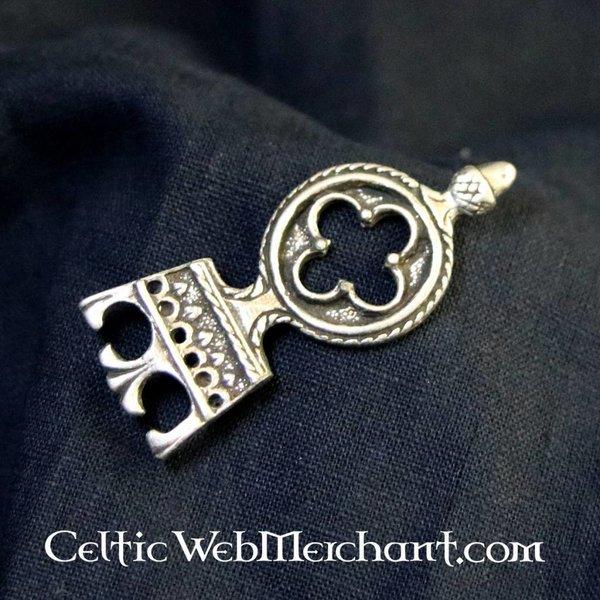 Gothic belt end 3 cm, silvered