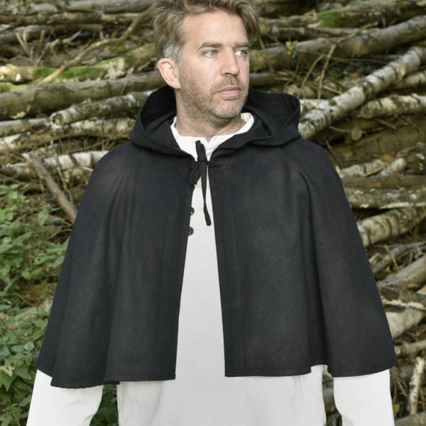 Medieval hood Oswell, black