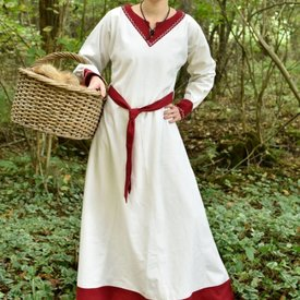 Viking sukienka Helga, naturalne-czerwony