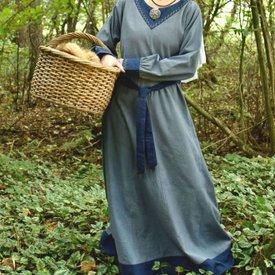 Viking klänning Helga, blå grå-blå