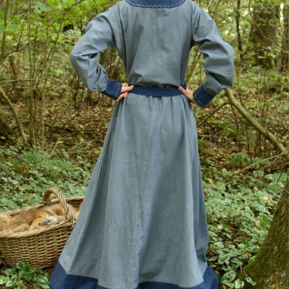 Abito vichingo Helga, blu grigio-blu