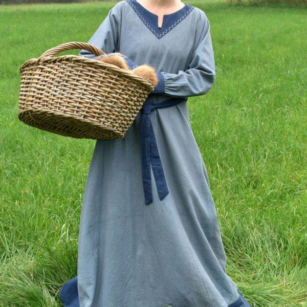 Viking dress Helga, blue grey-blue