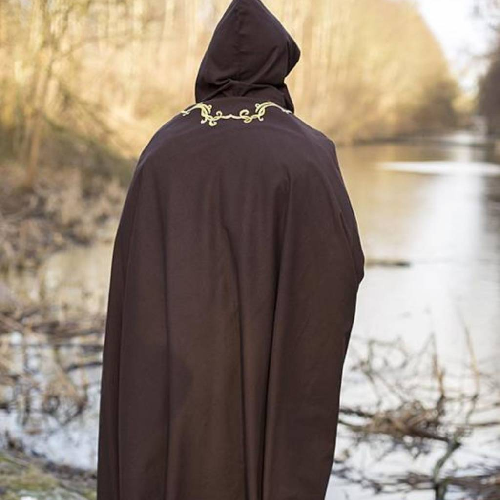 Geborduurde mantel Terra, bruin
