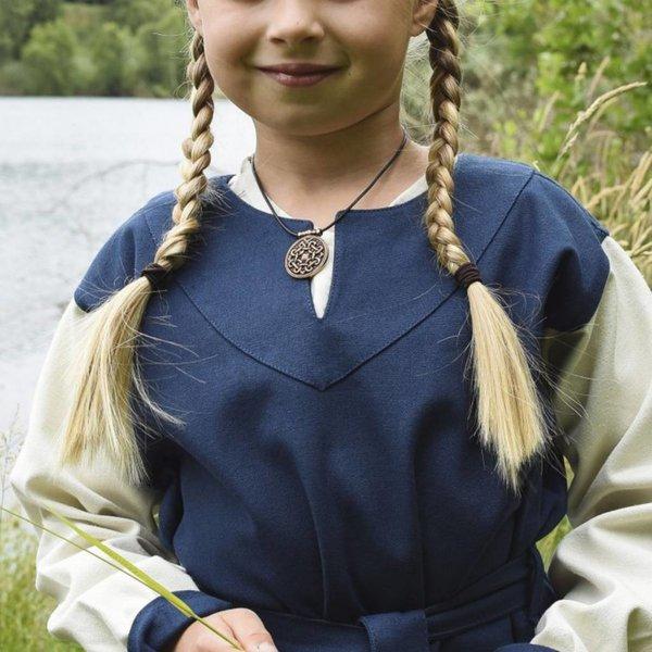 Meisjesjurk Birka, blauw-naturel