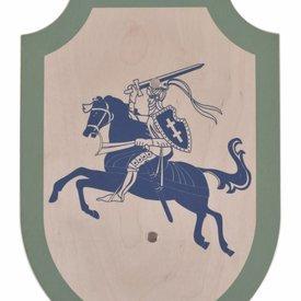 Torneo de juguete caballero escudo, verde-azul.