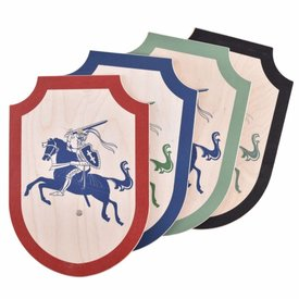Toy knight shield tournament, red-blue