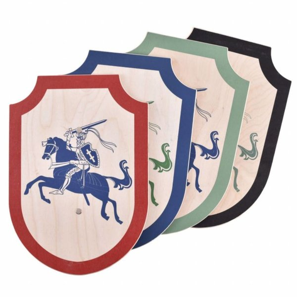 Toy knight shield tournament, blue-green