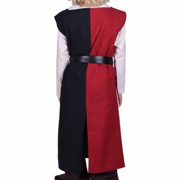 Childrens surcoat Rodrick, sort-rød