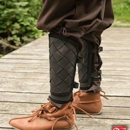 RFB leather Viking greaves, black, pair
