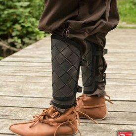 Epic Armoury RFB læder Viking greaves, sort, par