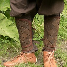 Epic Armoury RFB leather Viking greaves, brown, pair