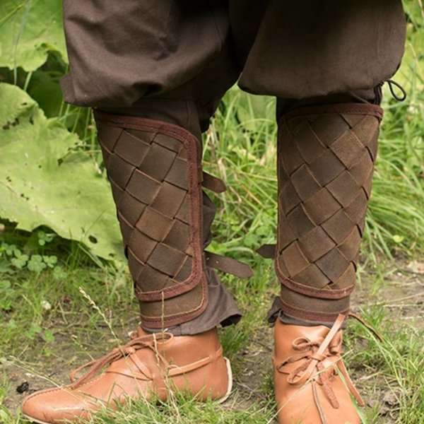 Epic Armoury Grèves viking en cuir RFB, marron, paire