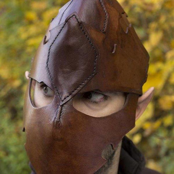 Epic Armoury Assassin Kask, Brązowy Skóra, LARP