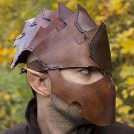 Epic Armoury Assassin Hjälm, brunt läder, LARP