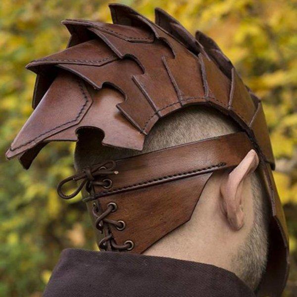 Epic Armoury Assassin Hjelm, brun læder, LARP