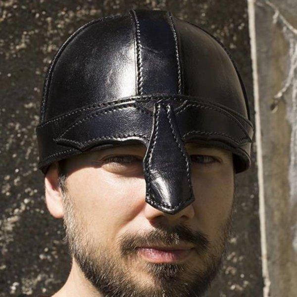Epic Armoury Läder nässkyddhjälm, svart