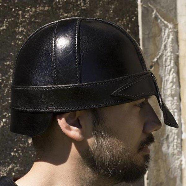 Epic Armoury Casque nasal en cuir, noir