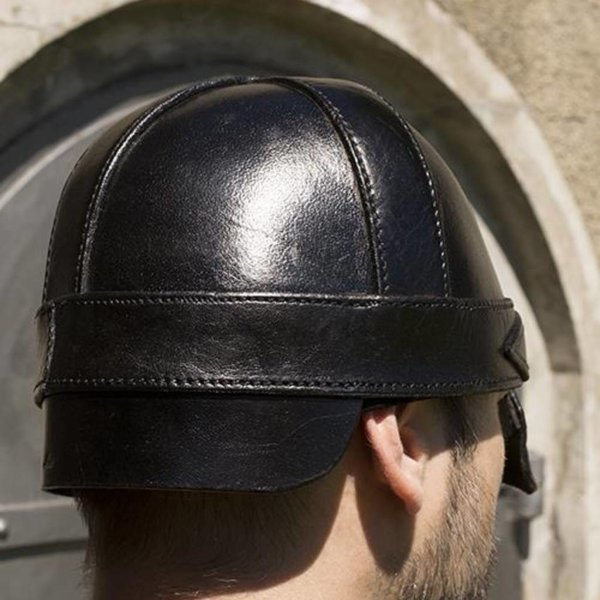 Epic Armoury Leather nasal helmet, black