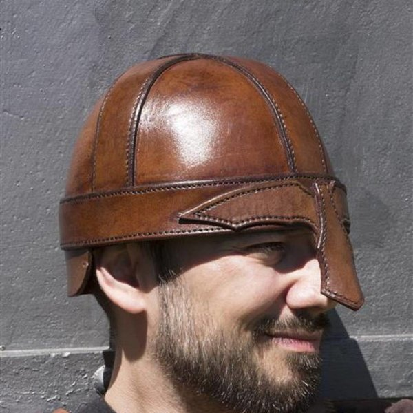 Epic Armoury Casque nasal en cuir, marron