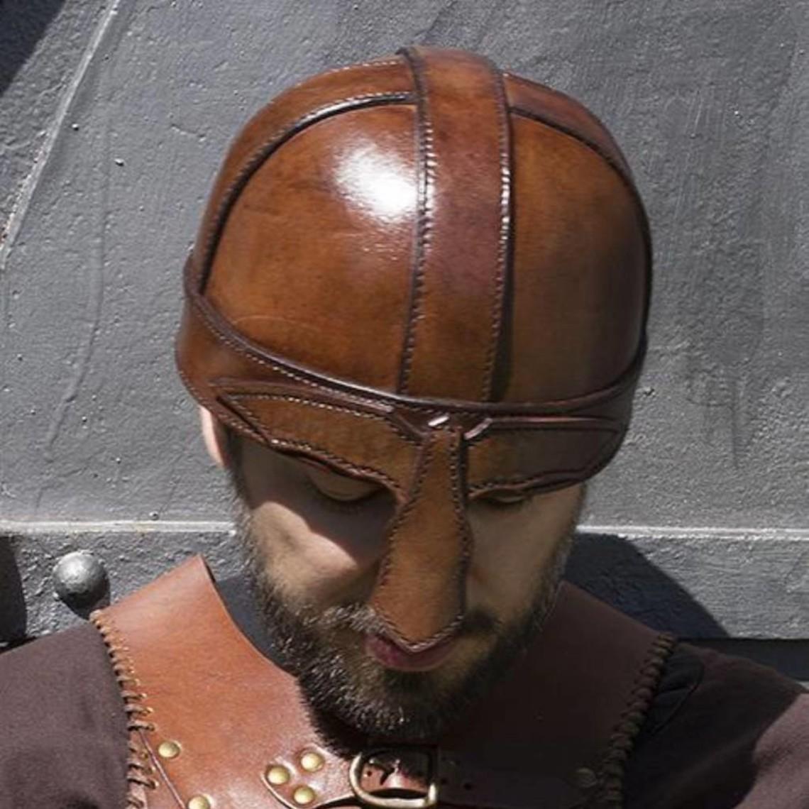 Epic Armoury Læder Hjelm with næseskinne, brun