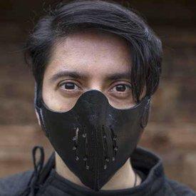 Epic Armoury Läder Mempo halvmask, svart
