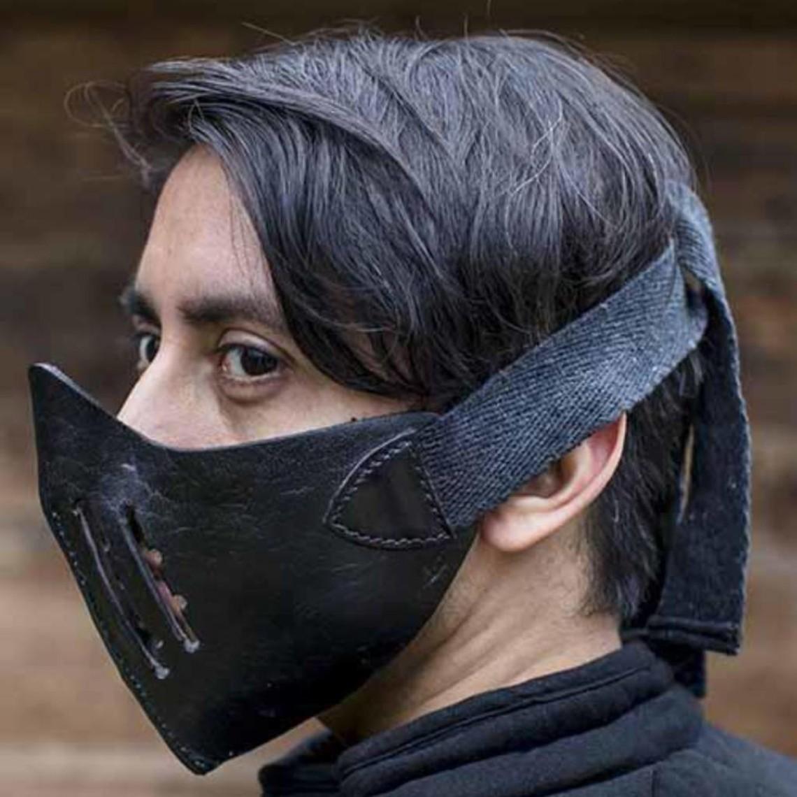 Epic Armoury Media máscara de cuero Mempo, negra.