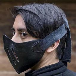 Leder Mempo Halbmaske, schwarz