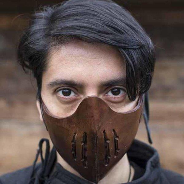 Epic Armoury Leren Mempo halfmasker, bruin