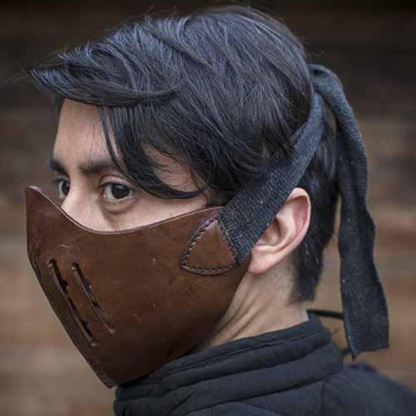 Epic Armoury Leather Mempo half mask, brown