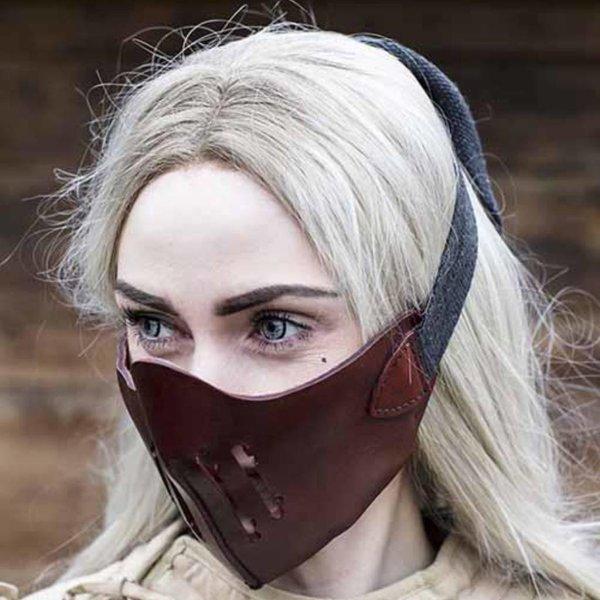 Epic Armoury Demi-masque en cuir Mempo, rouge