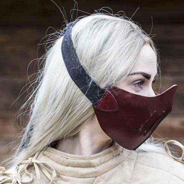 Epic Armoury Læder Mempo halvmaske, rød