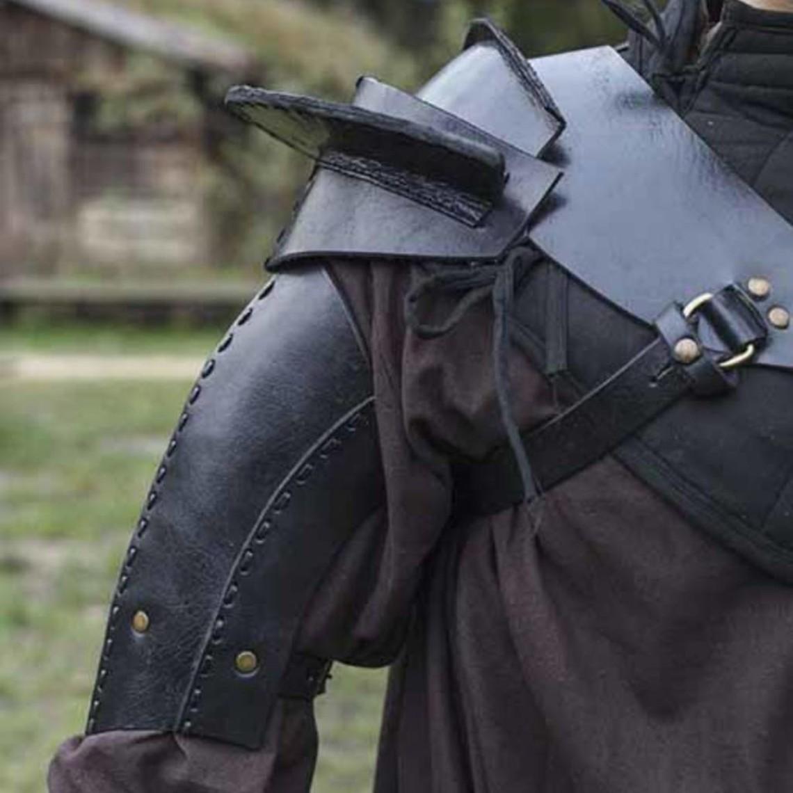 Epic Armoury Leren schouderpantser, zwart