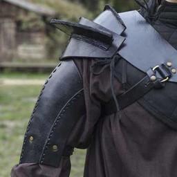 Leather shoulder armor, black