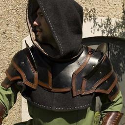 Armadura de cuero para hombros y cuello, marrón-marrón.