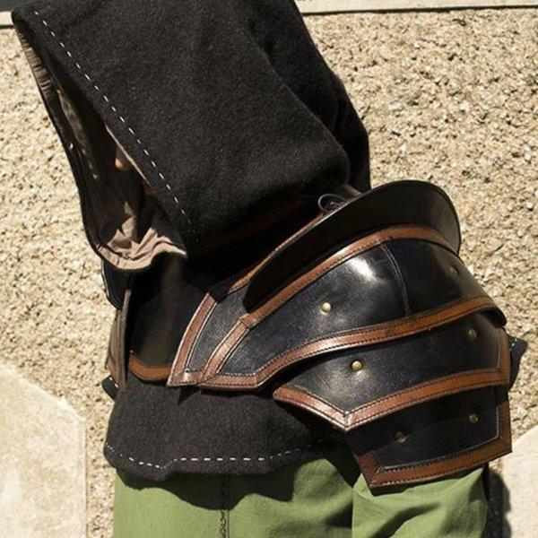 Epic Armoury Leren schouder & nekpantser, zwart-bruin