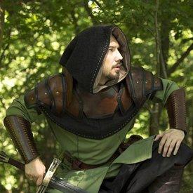 Epic Armoury Leren schouder & nekpantser, bruin-zwart