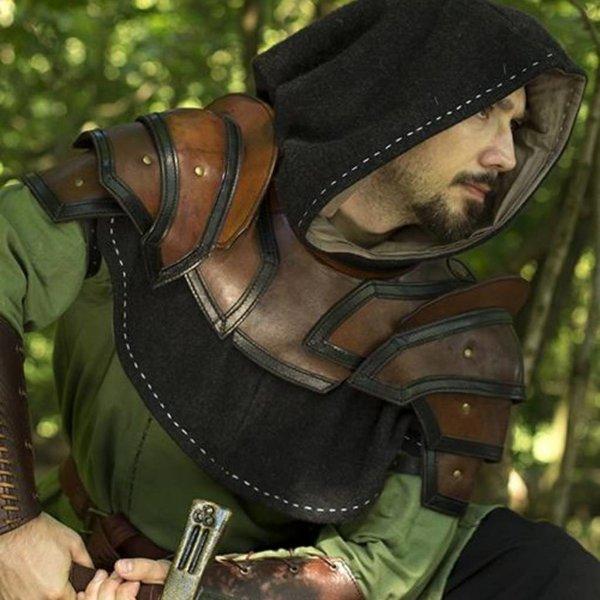Epic Armoury Armadura de cuero para hombros y cuello, marrón-negro