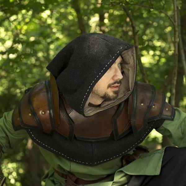 Epic Armoury Læder skulder & nakke rustning, brun-sort
