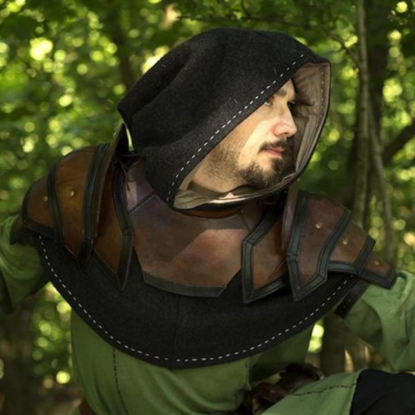 Epic Armoury Armatura per spalle e collo in pelle, marrone-nero