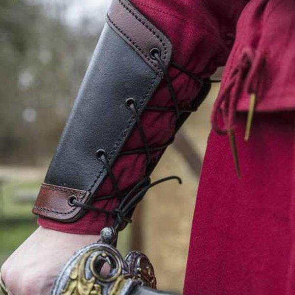 Epic Armoury Leren onderarmbeschermers Warrior, zwart-rood, paar