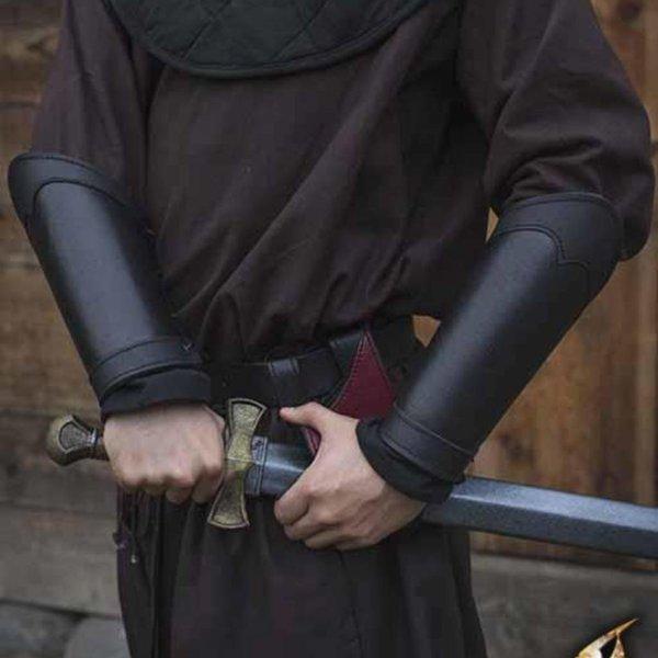 Epic Armoury Leder Armschienen Krieger, schwarz, Paar