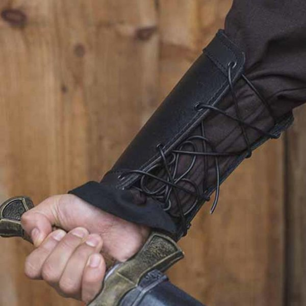 Epic Armoury Leren onderarmbeschermers Warrior, zwart, paar