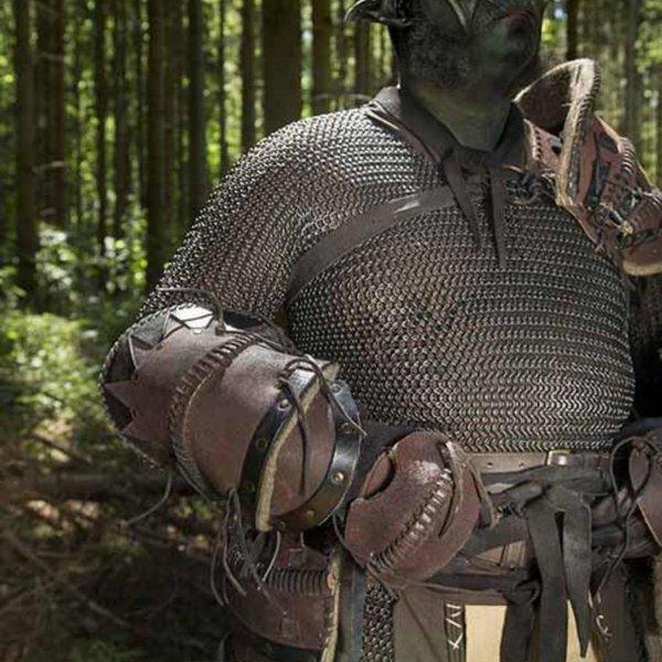 Epic Armoury Leren Ork onderarmbeschermers Uzgush, bruin, paar