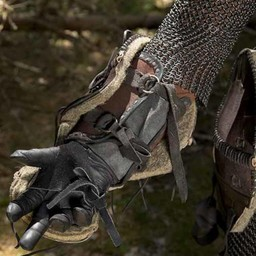 Leather Orc vambraces Uzgush, brown, pair